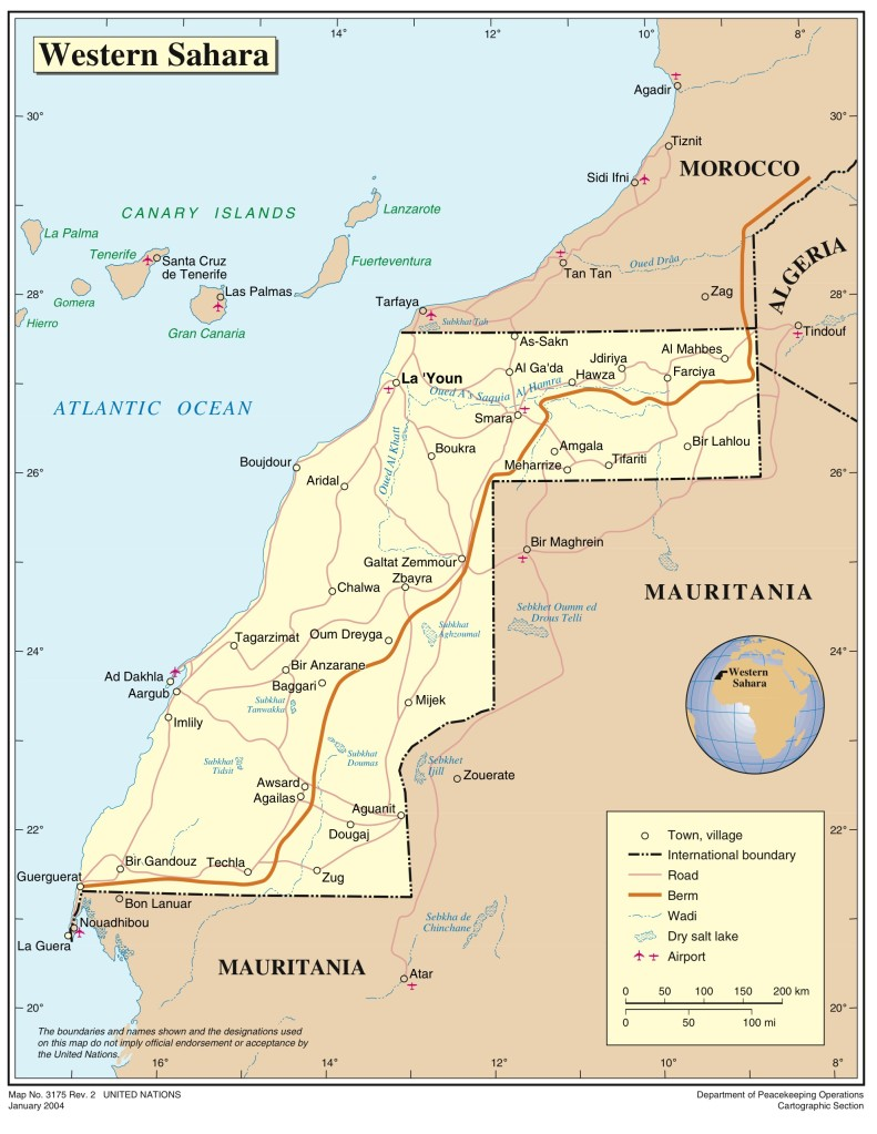 A map of Western Sahara, a disputed territory in northwest Africa